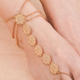 Spangle Decorated Gold Plated Alloy Anklets