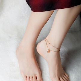 Rose Gold Lock Shape with Beads Beach Anklets