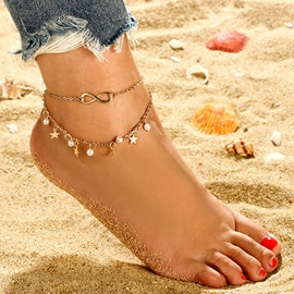 Multi-Layer Star with Pearl Pendant Beach Anklets