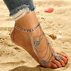 Metal Coin Shape Multi-Layer Tassel Beach Anklets