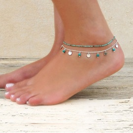 Turquoise Bead Pendent Beach Metal Multi-Layer Anklets