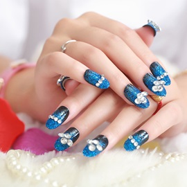 Mysterious Blue-black Flash Diamond Nail Patch