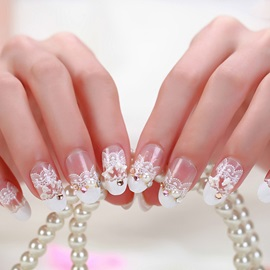 Charming White Lace Nail Patch