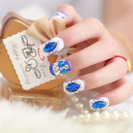 Bride Manicure Set Series Blue Drilling Nail Patch