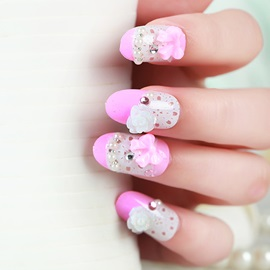 Elegant Flower and Bowknot Decoration False Nail Patch