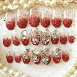 Rhinestone Decoration Red Nail Art Patch