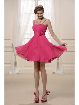 Lovely Spaghetti Straps Flowers Short A-Line Ruched Bridesmaid Dress