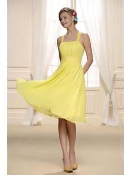 Chiffon A-Line Knee-length Button Straps 16 Dress