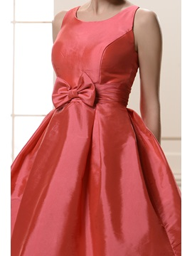 Attractive Bowknot Empire Waist Jewel Neckline Knee-Length Bridesmaid/Homecoming Dress