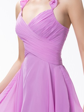 Pure Color Knee-Length Ruched Halter A-Line Bridesmaid/Homecoming Dress