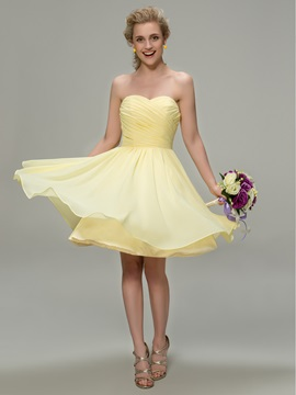 Sweetheart Pleats Knee Length Cheap Bridesmaid Dress