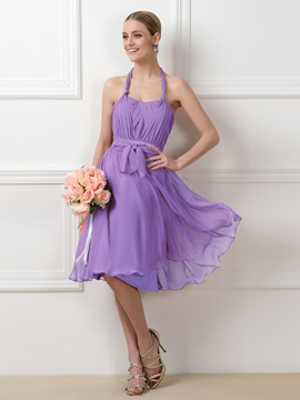 bf020f98b021 Convertible Purple Knee-Length Short Bridesmaid Dress : Tidebuy.com