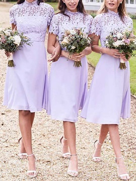 Knee-Length Short Sleeves High Neck Lace Bridesmaid Dress