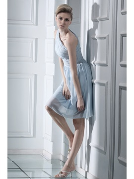 Delicate Pleated One-Shoulder Short Bridesmaid Dress