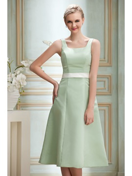 Simple A-Line Square Neck Tea-Length Sash Zipper-up Yana