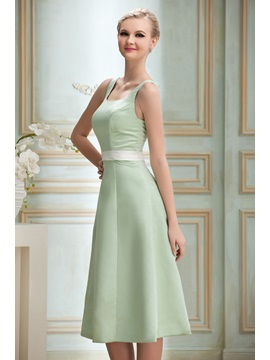 Simple A-Line Square Neck Tea-Length Sash Zipper-up Yana's Bridesmaid Dress