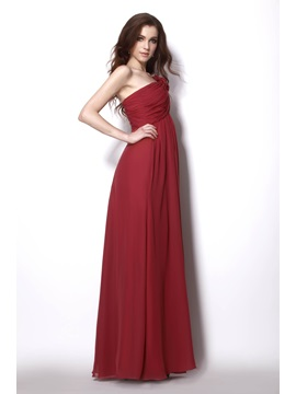 Charming Empire One-Shoulder Floor-Length Sleeveless Natilie's Bridesmaid Dress