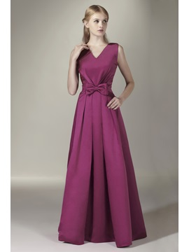 Enchanting Bowknot A-Line V-Neck Floor-Length Sasha's Bridesmaid Dress