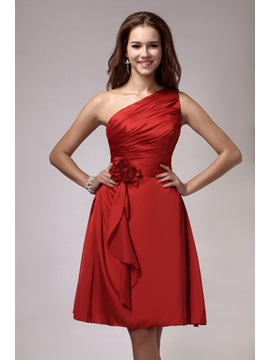 Attractive One-Shoulder Pleats Flower A-Line Knee-length Sandra's Bridesmaid Dress