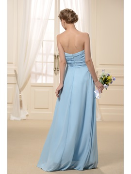 Pure Pleats A-Line Sweetheart Long Bridesmaid Dress