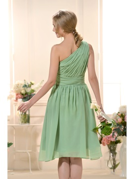 Fabulous Draped Empire Waist Knee-Length One-Shoulder Train Bridesmaid Dress