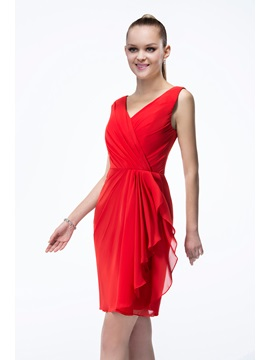 Excellent Short V-Neck Sleeveless Zipper-up Bridesmaid Dress