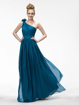One-Shoulder Ruched Flowers Watteau Train Floor-Length Bridesmaid Dress