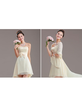 Simple A-Line Bowknot Strapless Asymmetry Bridesmaid dress