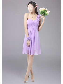 Pretty A-Line One Shoulder Flowers Empire Pure colour Bridesmaid Dress