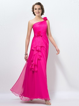 Bright One-Shoulder Flowers Pleats A-Line Long Chiffon Bridesmaid Dress