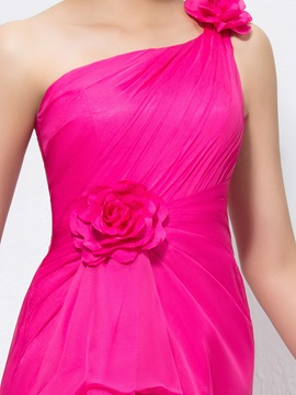 Bright One-Shoulder Flowers Pleats A-Line Long Bridesmaid Dress