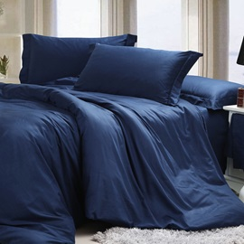 Solid Colored-Navy Blue Egyptian Cotton 4-Piece Queen/King Size Duvet Covers