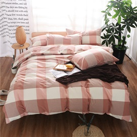 Wannaus Pink Plaid Prints Cotton 4-Piece Duvet Cover Sets