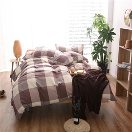 Wannaus Coffee Plaid Prints Cotton 4-Piece Duvet Cover Sets