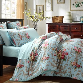 Wannaus Pink Peonies Prints Cotton 4-Piece Blue Duvet Cover Sets