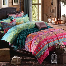 Wannaus Tribal Bohemian Prints Cotton 4-Piece Duvet Cover Sets