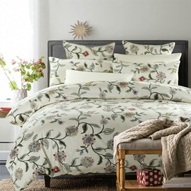 Wannaus Floral and Branches Prints Cotton 4-Piece Duvet Cover Sets