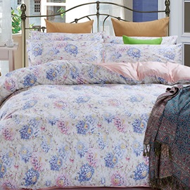 Wannaus Floral Prints Pastoral Style Cotton 4-Piece Blue Duvet Cover Sets