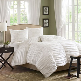 Wannaus Luxury Solid White Lace Cotton 4-Piece Duvet Cover Sets