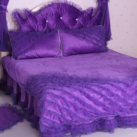 Wannaus Luxury Purple Lace Trim 4-Piece Duvet Cover Sets