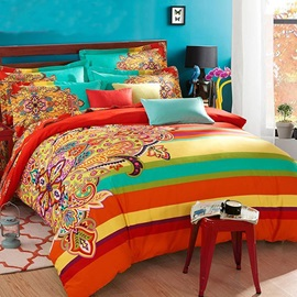 Wannaus Retro Ethnic Style Colorful 4-Piece Cotton Duvet Cover Sets