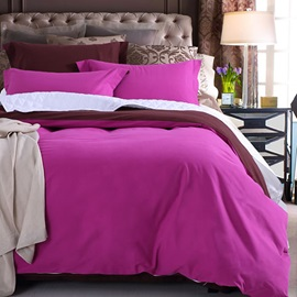 Wannaus Romantic Solid Rose Pink Cotton 4-Piece Duvet Cover Sets