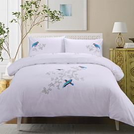 Wannaus Blue Bird Prints Embroidery Cotton 4-Piece Duvet Cover Sets