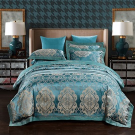 Wannaus European Style Turquoise Jacquard 4-Piece Silky Duvet Cover Sets