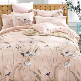 Wannaus Pastoral Style Birds Flowers Cotton Satin 4-Piece Duvet Cover Sets