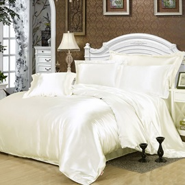 Wannaus Pure White Luxury Silky 4-Piece Duvet Cover Sets