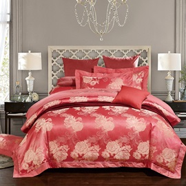 Wannaus Luxury Red Peony Jacquard Print Silky 4-Piece Duvet Cover Sets