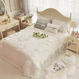 Wannaus Elegant White Applique 4-Piece Cotton Lace Duvet Cover Sets