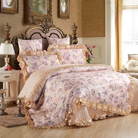 Wannaus Pastoral Style Floral Pattern 6-Piece Cotton Sateen Duvet Cover Sets