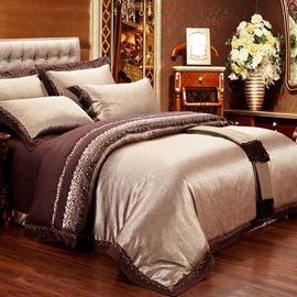 Wannaus Royal Style Golden Jacquard 6-Piece Duvet Cover Sets